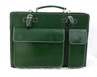Briefcase bag real leather glove