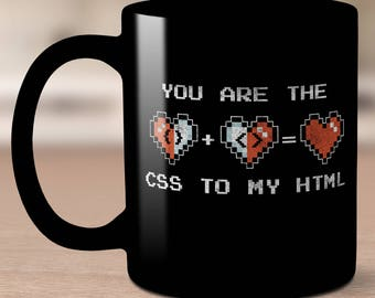 CSS HTML Mug. Gifts for programming coding web design computers mugs. Javascript. Web development. Gifts for.