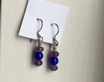 Purple and Blue Beaded Drop Earrings