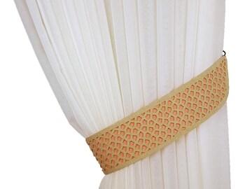 Curtain tiebacks, Laser cutting, Orange tiebacks, Drapery tiebacks, Curtain decor, Orange decor, Home decor, Tie backs, Curtain tie backs