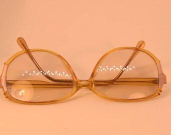 Vintage Original 80s Terri Brogan Glasses Eyewear Yellow Gold Prescription Frames