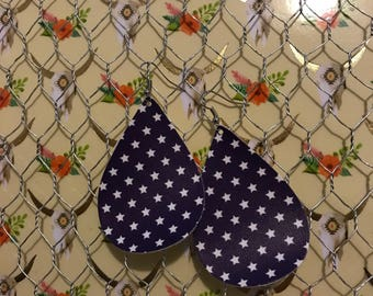 Star faux leather earrings, star earrings, faux leather, leather earrings, faux leather earrings, teardrop earrings