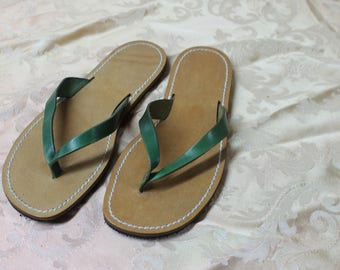 Handmade Leather thong sandal with green belt