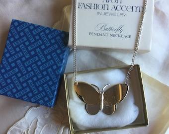 SALE! Vintage Avon Butterfly Pendant Necklace 1977