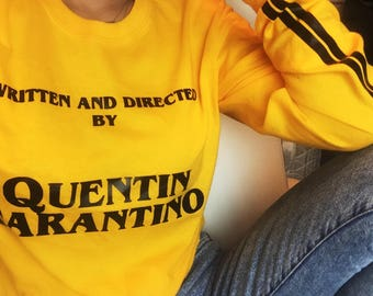 Written by Quentin Tarantino T-shirt - Vintage 90's Shirt - Yellow Tumblr Tee - Stripes Sleeve - Long Sleeve T-shirt - Fun Stylish Top