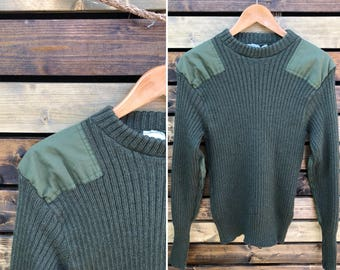 Vintage British Military Ribbed  Wool Patch Sweater