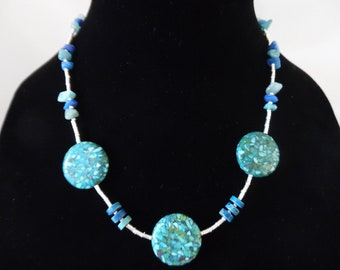 Blue-green Necklace with Silver Accents