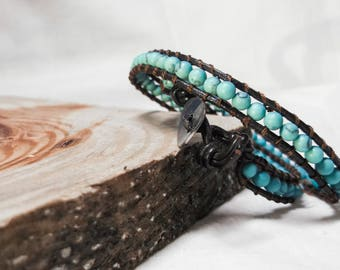 woman bracelet, leather wrap bracelet, beaded wrap bracelet, wrap bracelet, gemstone leather wrap bracelet