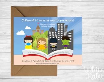 Princess & Superhero Party Invitations with envelopes