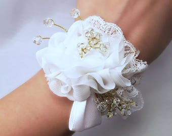 Bridesmaid bracelet/bridal lace and organza, lace floral corsage gem perfect for wedding