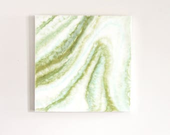 Green and White Resin Painting