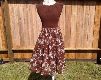 1960s Chocolate Brown and Floral Fit'n'flare Cotton and Chiffon Day Dress