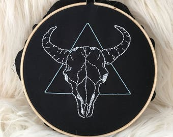 Animal Skull & Triangle Embroidery Wall Art