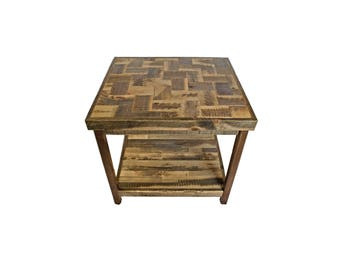 Reclaimed Wood End Table from Recycled Wyoming Snow Fence - Weave Pattern