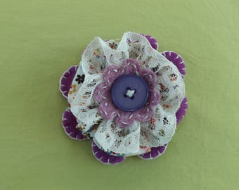 Lace and Ditsy Flower Fabric Brooch