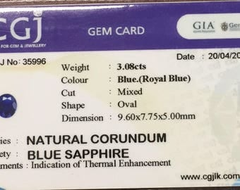 3.08cts natural ceylon royal blue sapphire
