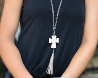 Cream Cross Tassel Necklace/ Silver Tassel Necklace/