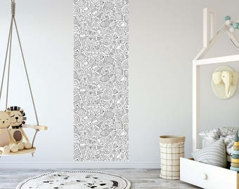 Removable Wallpaper for Coloring Mural Peel & Stick For Kids and Adults Hand Drawn Ice Cream