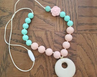Silicone Teething necklace ~ Mint and Peach with Rosette