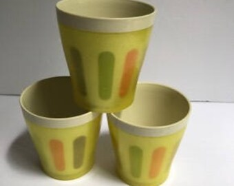 Thermo Serv Glasses -Stripe and Glitter Cup Set - Vintage