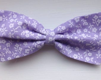 Lilac and white floral fabric hair bow clip hairbow