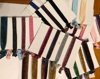 Set of 4 Glitter Elastic Hair Ties Bracelet Pony Tail Holders