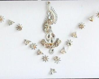 Silver Forehead  Bindi Stickers,Wedding Long Bindis,Bridal Silver Bindis,India Bindi,Bollywood Bindi, Long Bindis, Self Adhesive Stickers