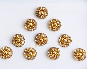 10 Gold Round Bindis,Bridal Bindis Stickers,Stone Bindis,Gold Round Face Jewels Bindis,India Bindis,Bollywood Bindis,Fake Belly Button Stud