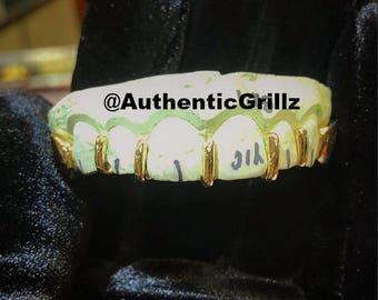 Authentic Open Slits Grill with Closed Caps at Ends in either Silver925, 10KT Gold, 14KT Gold, or 18KT Gold Grillz