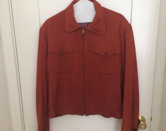1950s Rust Color H&L Block Gabardine Jacket Mens Size 42