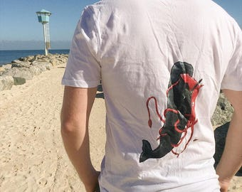 Squid v whale hand painted shirt