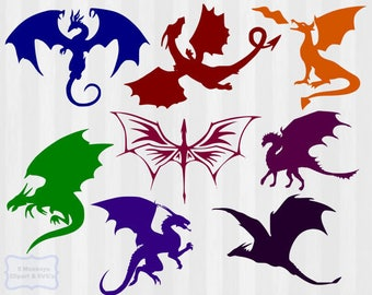 Dragon SVG & Clipart, Dragon SVG bundle, dragon svg, dragon clip art, cuttable design, cut files, vector, graphics, dragon silhouette,cricut