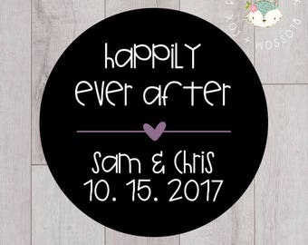 Wedding Stickers, Happily Ever After, Personalized Wedding Stickers, Favor Stickers, Favor Tags, Thank you Stickers, Wedding Favors, S004