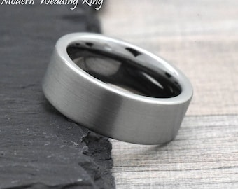 8mm Mens Engagement Ring, Mens Engagement Band, Tungsten Promise Ring Couples Ring, His Male Wedding Bands, Pipe Cut Brushed Mens Ring