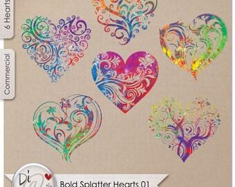 Bold Splatter Hearts 01, Transparent PNG , PNG Elements, Digital Scrapbook | Clipart |  Printable Designers Resources