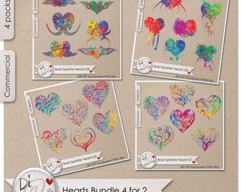Bundle Bold Splatter Hearts Transparent PNG , PNG Elements, Digital Scrapbook | Clipart |  Printable Designers Resources