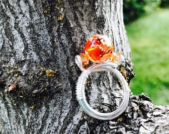 Silver and orange statement ring