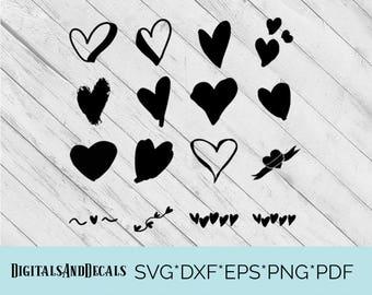 Handrawn SVG Heart Svg, Heart Dxf, Heart Cut File, Heart Eps  Heart Cricut, Heart Silhouette, Hand Drawn Heart Svg, Hand Drawn Heart Dxf