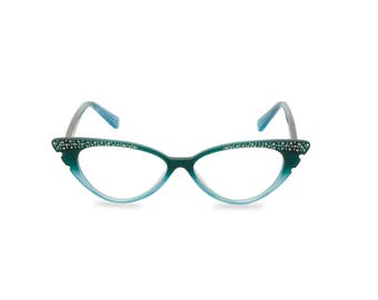 Sassy retro cat eye 50s style glasses with diamante studded wing tip. Ready for your prescription lenses, 'Marilyn' in graduated aqua