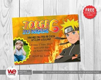 Naruto invitation,Naruto party, Naruto invite, Naruto thank you card, Naruto birthday