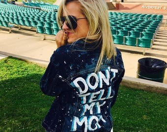 DONT TELL MOM  hand painted denim splatter painted jacket. Women's Size 10.