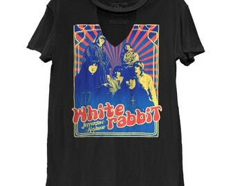 SALE! Jefferson Airplane White Rabbit Cutout Casual Tee (JEF0011-924VBK) 1960s, woodstock, somebody to love, pop rock, summer of love