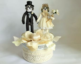 Shih Tzu Bride & Groom WEDDING vintage style spun cotton CAKE TOPPER dog figures on gift box
