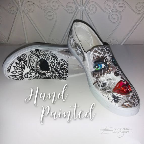 Sugar Skull Slip Ons Hand Painted Shoes Tattoo Shoes Dia De