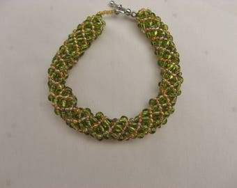 Russian Spiral  Hand Beaded Bracelet in Green and Gold