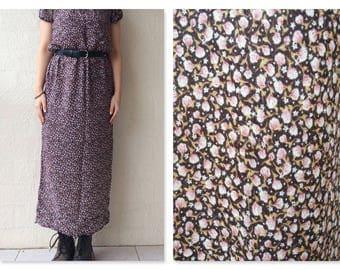 90s Vintage Soft Microfloral Girly Maxi Dress / boho maxi dress