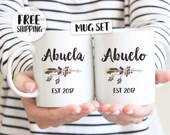 Abuela mug, Abuelo mug, Abuela gift, Abuelo gift, Abuela Est., Pregnancy reveal to grandparents, New grandparents, Grandma and Grandpa Mugs