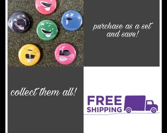 "1"" Mighty Morphin Power Rangers Helmet Button Pins or Magnets, FREE SHIPPING & Coupon Codes"