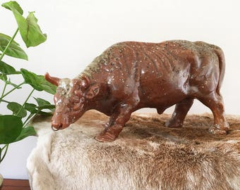 Vintage glazed ceramic bull figure - boho bohemian eclectic jungalow style decor home - japanese pottery - toro bull fighting #0171