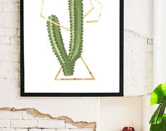 Cactus Gleam Geometric Downloadable Printable Wall Art   4x6, 8x10, 11x14